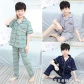 兒童睡衣男夏季短袖純棉套裝男童居家服新款睡衣空調服薄款中大童