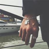 日韓時尚運動健身小啞鈴手鍊男士鈦鋼不掉色鋼牌手環女款情侶手鍊