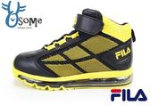 FILA籃球鞋 中大童 高筒 全氣墊 多功能運動鞋 K7687#黑黃◆OSOME奧森童鞋/小朋友