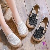 民族風女鞋 拼色繡花鞋圓頭復古平底單鞋 鞋編織帆布鞋夏