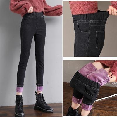 冬季加絨加厚牛仔褲女小腳褲松緊高腰彈力緊身保暖鉛筆褲子T328 韓依紡