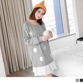OB嚴選《AB1751-》拼接純白抓皺裙襬銀色點點燙印棉感連袖洋裝.2色--適 M~XL