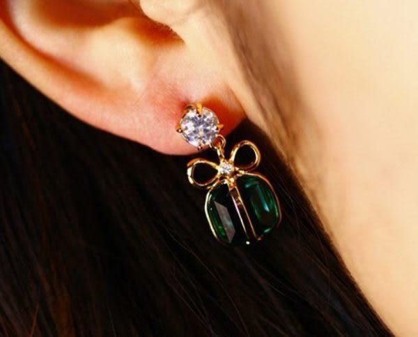 綠水晶蝴蝶結耳環