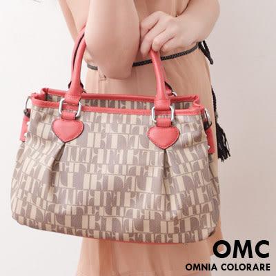 OMC - 氣質甜美文字拼接緹花愛心抓皺手提斜背2用包