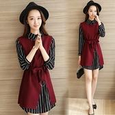 2020春秋韓版新款女套頭條紋打底襯衫毛呢背心洋裝時尚兩件套裝