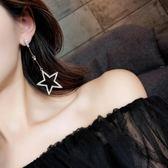 耳環 925銀針五角星耳環韓國氣質長款星星吊墜耳墜個性