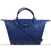 茱麗葉精品【全新現貨】Longchamp Le Pliage Cuir 折疊小羊皮短把兩用包.深藍 #1515