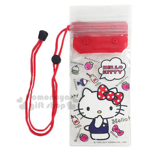〔小禮堂〕Hello Kitty 防水手機袋《紅.透明.草莓.點點蝴蝶結.摸臉》附頸掛繩 7035170-40002