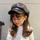 兒童PU皮革帽子女童時尚百搭英倫八角帽親子鴨舌帽秋冬復古貝雷帽