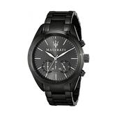 【Maserati 瑪莎拉蒂】TRAGUARDO經典質感三眼計時錶-寂靜黑/R8873612002/台灣總代理公司貨享兩年保固