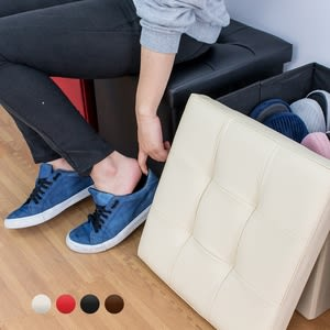 收納凳 收納椅凳-55L【樂嫚妮】 折疊收納箱 儲物凳 腳凳 穿鞋椅皮革收納凳38X