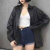 外套春季新款復古港味oversize皮襯衫百搭上衣氣質時尚中長仿皮外套女