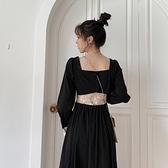 法式小心機黑色洋裝2020秋裝收腰顯瘦氣質中長款設計感桔梗裙女 陽光好物