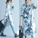 微購【A3004】水墨印花毛呢長袖連身裙