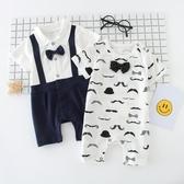 全館83折 周歲禮服男嬰兒夏裝男0-6個月3連體衣12女哈衣薄款短袖純棉男寶寶