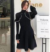年終大清倉赫本小黑裙長秋冬季裝露肩收腰修身針織連身裙女裙子