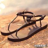 簡約防滑鐵牌平底女士人字拖 夏季學生羅馬涼鞋夾趾涼拖鞋