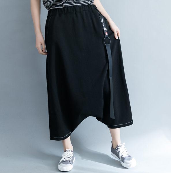 褲子 - B16338 簡約黑八分寬垮褲【F碼】MEET中大尺碼
