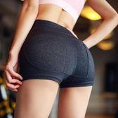 嵐紋運動短褲女性感瑜伽提臀翹臀緊身蜜桃臀熱褲高腰跑步健身褲夏