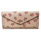 【COACH】專櫃款經典馬車日系花卉前口袋後拉鍊信封薄型長夾(粉橘)