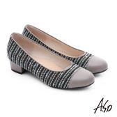 A.S.O 3E舒活寬楦 針織牛皮奈米低跟鞋  淺灰