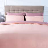 飯店式純棉撞色單人床包三件組-珊瑚粉