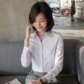 [小慧家]白襯衫女裝長袖職業工作正裝寬鬆工裝打底V領襯衣韓范OL【台秋節快樂】