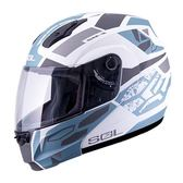 [東門城] SOL SM-3 戰將 消光白/灰藍銀 雙重排氣系統 通風性佳 快拆式鏡片 雙D釦 可掀式安全帽