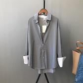長袖襯衫-條紋時尚撞色翻邊前短後長女上衣73qt17【巴黎精品】