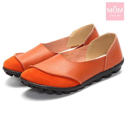 異材質拼接純色小圓頭舒適真皮樂福鞋 橘 *MOM*