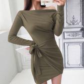 Qmigirl 實拍不規則系帶一字肩包臀性感連身裙洋裝【T1077】
