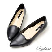 訂製鞋 美型切邊足弓軟墊真皮OL尖頭鞋-艾莉莎ALISA【258057】黑色下單區