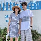 情侶裝 小眾設計感情侶裝夏裝拼接短袖T恤套裝西裝領格紋連衣裙一裙一衣