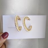 【NiNi Me】耳環 氣質甜美優雅珍珠半圓圈925銀針耳環 耳環 N0562