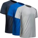 MCPORO-吸濕排汗高性能運動T卹3件裝(深藍色/藍色/淺灰色)