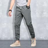 夏季男士休閒褲 男韓版潮流薄款長褲子束腳工裝運動褲九分冰絲寬鬆 JX2277『Bad boy時尚』