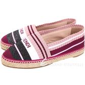 FENDI 粉紫多彩拼色紗線草編鞋 1820339-04