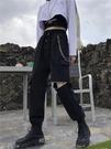 黑色工裝褲女秋冬帥氣顯瘦高腰大碼寬鬆運動休閒氣質束腳褲子套裝 伊蘿