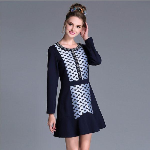 中大尺碼洋裝 時尚撞色拼接鑲鑽縫珠荷葉連身裙 L-5XL #bl2921 ❤卡樂❤