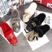 歐美秋冬新款獺兔毛平底鞋流蘇甜美豆豆鞋加絨棉瓢鞋船鞋單鞋女鞋