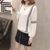 2018長袖t恤女裝韓版冰絲針織衫雪紡袖