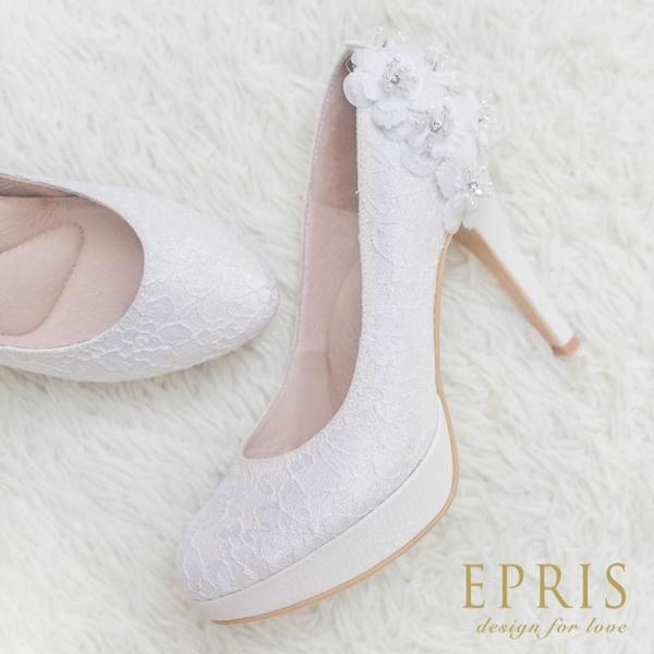 現貨 MIT小中大尺碼婚鞋推薦 花雨女神 前高後高跟鞋 21-26 EPRIS艾佩絲-浪漫白/閃耀白