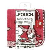 【五折】史努比 毛巾拉鍊收納袋 小方巾/毛巾/手帕 保溫 保冷100%棉 紅色 該該貝比日本精品