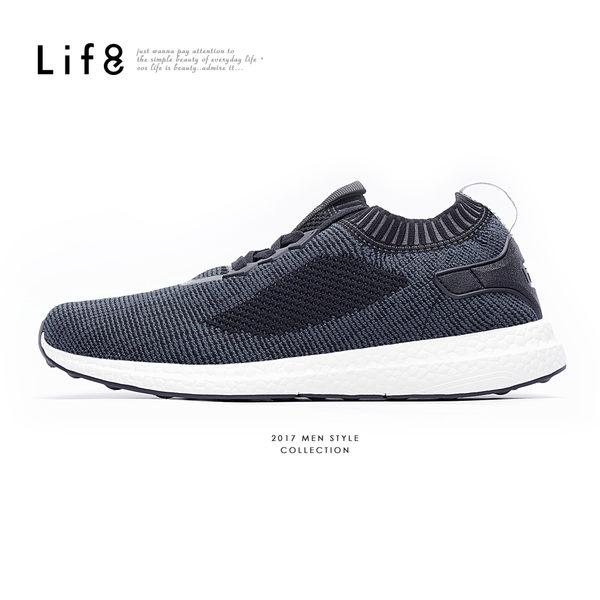 Sport 超輕量 飛織布 彈力運動鞋-黑色【09700】