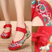布鞋女鞋 牛筋底坡跟繡花鞋 民族風紅色婚鞋 內增高舞蹈漢服鞋‧衣雅