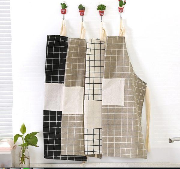 King*Shop~北歐風棉布藝圍裙防油清潔圍裙廚房家居工作服面包店半身圍裙