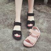 涼鞋女夏平底韓版學生簡約中跟百搭【熊貓本】