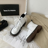 馬丁靴女英倫風百搭小短靴子2021年新款圓頭白色日系平底春秋季單一米陽光