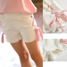女童短褲白色中大童皮筋棉牛仔熱褲2020夏季新童裝磨砂蝴蝶結系帶