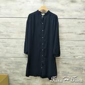 【Tiara Tiara】百貨同步aw 簡約系排釦襯衫式純棉洋裝(藏青/淺灰/深灰)